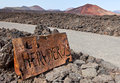 Sign of Los Hervideros, Lanzarote Stock Photo