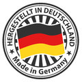Sign made in germany hergestellt in deutschland vector stamp with flag of the lettering Royalty Free Stock Photos