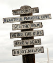 Sign on Malibu beach, Los Angeles, California Royalty Free Stock Photography