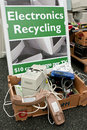 Sign marks spot to dump electronics at recycling event lawrenceville ga usa november an the for people drop off old phones Stock Photography