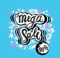 Sign Mega Sale, icon for your web, label, icon, minimal dynamic design. Limited Offer Mega Sale banner. Sale poster. Hand drawn de