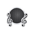 sign music treble clef icon relief with metallic frame with grill perforated