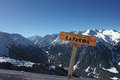 Sign with the name of city karakol and indication of the height top horizontal kyrgyzstan Stock Photo