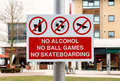 Sign: No Alcohol, Ball Games, and Skateboarding Royalty Free Stock Photo