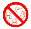 Sign of no gun and grenade and oil and gas Stock Image