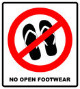Sign no sandals. No slipper red prohibition plane icon on white background. Ban flip flops. Stock illustration