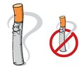 Sign no smoking with danger prohibition cartoon cigarette Royalty Free Stock Photography