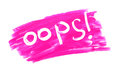 Sign oops written on a background of lipstick Royalty Free Stock Photo
