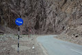 Sign panels on the mountain road in Leh, India Royalty Free Stock Photo