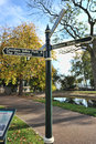 Sign post in autumn weston park sheffield uk Royalty Free Stock Photography