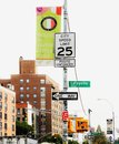 Sign Post at the intersection of  Houston and Lafayette Streets, Downtown Manhattan in New York City. Royalty Free Stock Photo