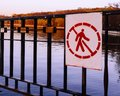 stock image of  The sign prohibiting entry into the territory