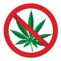 Sign of prohibition cannabis. Red sign ban marijuana. Stop drugs sign. Vector illustration