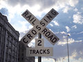 Sign rail road crossing Royalty Free Stock Photo