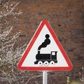 Sign - Railway crossing without barrier. Royalty Free Stock Photo