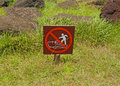 Sign at rapa nui easter island no stepping on moai polynesia chile Stock Photos
