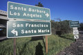 A sign that reads �santa barbara los angeles san francisco santa maria� Stock Images