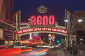 The Sign of Reno Arch at Night, Nevada Royalty Free Stock Photo