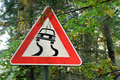 Sign slippery road Royalty Free Stock Photo