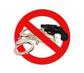 Sign stop gun Stock Photo