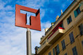 A sign of a stop of the high-speed tram in Nice Royalty Free Stock Photo