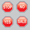 Sign stop yes no sale in red performance Stock Images