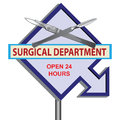 Sign surgical department banner with time work vector illustration Stock Photos