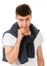 Sign teeth young man showing negative on white background Royalty Free Stock Photo