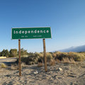 Sign for town named Independence. Royalty Free Stock Images