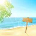 Sign on tropical beach Royalty Free Stock Photo