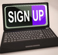 Sign up button on laptop shows website registration or subscription Royalty Free Stock Photo