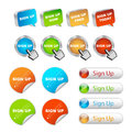 Sign up buttons set of different isolated on white background Royalty Free Stock Photos