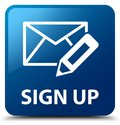 Sign up (edit mail icon) blue square button Royalty Free Stock Photo