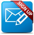 Sign up (edit mail icon) cyan blue square button red ribbon in c Royalty Free Stock Photo