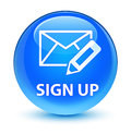 Sign up (edit mail icon) glassy cyan blue round button Royalty Free Stock Photo