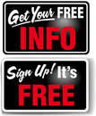 Sign up Free INFO Store Sign Set Stock Photo