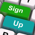 Sign up keys mean registration and membership meaning Royalty Free Stock Photo
