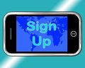 Sign Up Mobile Message Shows Online Registration Stock Photo