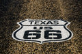 Sign for us in texas route freshly painted on the highway vega Stock Photos