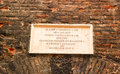 Sign on a wall outside the Capuleto family`s house Royalty Free Stock Photo