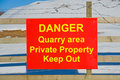 A sign warning of danger in a quarry. Royalty Free Stock Images