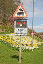 Sign warning of level crossing. Royalty Free Stock Images