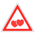 Sign warning about love Valentine`s day Royalty Free Stock Photo