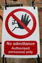 No admittance warning sign Royalty Free Stock Photo