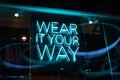 Sign wear it your way in blue neon letters Stock Images