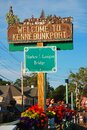 A sign welcomes visitors to Kennebunkport, Maine Royalty Free Stock Photo