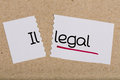 Sign with word illegal turned into legal two pieces of white paper the Royalty Free Stock Images