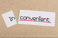 Sign with word inconvenient turned into convenient Royalty Free Stock Photo
