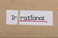 Sign with word irrational turned into rational two pieces of white paper the Royalty Free Stock Image