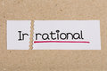 Sign with word irrational turned into rational two pieces of white paper the Royalty Free Stock Photo